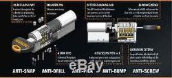 Pair Avocet ABS 3 Star Keyed Alike Anti Snap Euro Cylinder UPVC Door Lock TS007