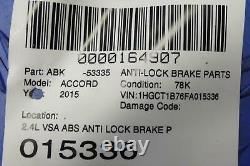 2015 Honda Accord Oem 2.4l Vsa Abs Anti Lock Brake Pump Control Module Coupé